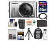 Nikon 1 AW1 Shock & Waterproof Digital Camera Body with AW 11-27.5mm Lens (Silver) with 64GB Card + Sling Backpack + Battery & Charger + Flex Tripod + Accessory Kit