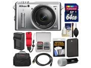 Nikon 1 AW1 Shock & Waterproof Digital Camera Body with AW 11-27.5mm Lens (Silver) with 64GB Card + Case + Battery & Charger + Strap + LED Torch Kit