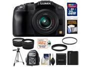 Panasonic Lumix DMC-G6 Micro Four Thirds Digital Camera with G Vario 14-42mm Lens (Black) with 32GB Card + Battery + Backpack + Tripod + Tele/Wide Lenses + Accessory Kit