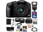 Panasonic Lumix DMC-G6 Micro Four Thirds Digital Camera with G Vario 14-42mm Lens (Black) with 32GB Card + Battery + Case + Tripod + Flash + Tele/Wide Lenses + Accessory Kit