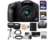 Panasonic Lumix DMC-G6 Micro Four Thirds Digital Camera with G Vario 14-42mm Lens (Black) with 64GB Card + Battery + Case + Tripod + 3 Filters + Tele/Wide Lenses + Accessory Kit