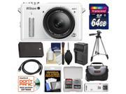 Nikon 1 AW1 Shock & Waterproof Digital Camera Body with AW 11-27.5mm Lens (White) with 64GB Card + Case + Battery & Charger + Tripod + Accessory Kit
