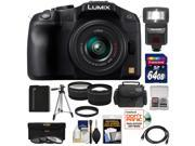 Panasonic Lumix DMC-G6 Micro Four Thirds Digital Camera with G Vario 14-42mm Lens (Black) with 64GB Card + Battery + Case + Tripod + Flash + Tele/Wide Lenses + Accessory Kit