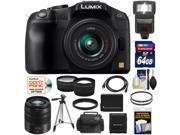 Panasonic Lumix DMC-G6 Micro Four Thirds Digital Camera with G Vario 14-42mm Lens (Black) with 45-150mm Lens + 64GB Card + Battery + Case + Flash + Tripod + Tele/ Wide Lens Kit
