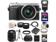 Panasonic Lumix DMC-GX7 Micro Four Thirds Digital Camera with 14-42mm II Lens with 45-150mm Lens + 64GB Card + Battery + Case + Flash + Tripod + Tele/ Wide Lens Kit