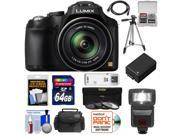 Panasonic Lumix DMC-FZ70 Digital Camera (Black) with 64GB Card + Battery + Case + Flash + Tripod + HDMI Cable + Accessory Kit