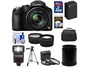 Panasonic Lumix DMC-FZ70 Digital Camera (Black) with 32GB Card + Battery + Case + Flash + Lens Set + Tripod + 3 Filters Kit