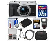 Fujifilm X30 Wi-Fi Digital Camera (Silver) with 32GB Card + Case + Flash + Battery + Tripod + Kit