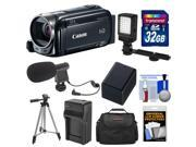 Canon Vixia HF R52 32GB Flash Memory 1080p HD Wi-Fi Digital Video Camcorder with 32GB Card + Battery & Charger + Case + LED Light + Mic + Tripod + Kit