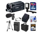 Canon Vixia HF R52 32GB Flash Memory 1080p HD Wi-Fi Digital Video Camcorder with 32GB Card + Battery & Charger + Waterpoof Case + LED Light + Mic + Tripod Kit