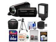 Panasonic HC-V130K Video Camera Camcorder with 64GB Card + LED Video Light + Case + Tripod + Accessory Kit