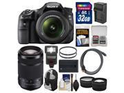 Sony Alpha SLT-A58 Digital SLR Camera Body & 18-55mm Lens with 55-300mm Lens + 32GB Card + Backpack + Flash + Battery/Charger + 2 Lens Kit