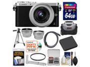 Panasonic Lumix DMC-GM1 Micro Four Thirds Digital Camera & 12-32mm Lens with 64GB Card + Hand Grip + Case + Battery + Tripod + Tele/Wide Lenses Kit