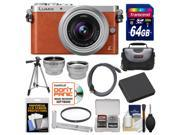 Panasonic Lumix DMC-GM1 Micro Four Thirds Digital Camera & 12-32mm Lens (Orange) with 64GB Card + Hand Grip + Case + Battery + Tripod + Tele/Wide Lenses Kit