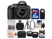 Nikon D5300 Digital SLR Camera & 18-55mm VR DX II AF-S Lens (Black) - Factory Refurbished with 32GB Card + Case + Tripod + Filter + Remote + Tele/Wide Lens Kit