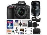 Nikon D5300 Digital SLR Camera & 18-55mm VR DX II AF-S Lens (Black) - Factory Refurbished with Tamron 70-300mm Di Lens + 32GB Card + Case + Tripod + Tele/Wide Lens Kit