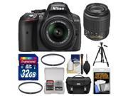 Nikon D5300 Digital SLR Camera & 18-55mm VR DX II AF-S Lens (Black) - Factory Refurbished with 55-200mm DX Zoom Lens + 32GB Card + Case + Tripod + Filters + Kit