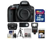 Nikon D5300 Digital SLR Camera Body (Black) - Factory Refurbished with 32GB Card + Case + Flash + Tripod + Remote + Kit