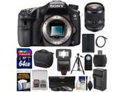 Sony Alpha A77 II Wi-Fi Digital SLR Camera Body with 18-135mm Lens + 64GB Card + Battery + Charger + Case + Tripod + Filters + Flash + Kit