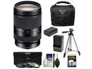Sony Alpha E-Mount E 18-200mm f/3.5-6.3 LE OSS Zoom Lens with Case + 3 Filters + Tripod + NP-FW50 Battery & Charger Kit