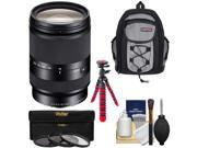 Sony Alpha E-Mount E 18-200mm f/3.5-6.3 LE OSS Zoom Lens with Backpack + 3 Filters + Tripod + Kit