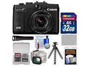 Canon PowerShot G16 Wi-Fi Digital Camera (Black) with WP-DC52 Waterproof Case + 32GB Card + Battery + Torch + Flex Tripod + Accessory Kit
