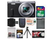 Panasonic Lumix DMC-ZS40 Wi-Fi GPS Digital Camera (Silver) with 16GB Card + Case + Battery + Flex Tripod + Kit