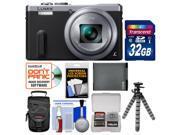 Panasonic Lumix DMC-ZS40 Wi-Fi GPS Digital Camera (Silver) with 32GB Card + Case + Battery + Flex Tripod + Kit