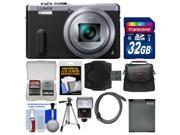 Panasonic Lumix DMC-ZS40 Wi-Fi GPS Digital Camera (Silver) with 32GB Card + Case + Flash + Battery + Tripod + Kit