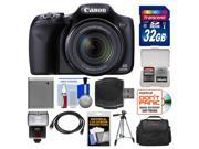 Canon PowerShot SX520 HS Digital Camera with 32GB Card + Case + Flash + Tripod + Kit