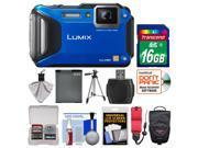 Panasonic Lumix DMC-FT5 Tough Shock & Waterproof Wi-Fi GPS Digital Camera (Blue) with 16GB Card + Case + Battery + Tripod + Float Strap + Kit