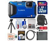 Panasonic Lumix DMC-FT5 Tough Shock & Waterproof Wi-Fi GPS Digital Camera (Blue) with 32GB Card + Case + Battery + Flex Tripod + Float Strap + Kit