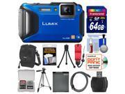 Panasonic Lumix DMC-FT5 Tough Shock & Waterproof Wi-Fi GPS Digital Camera (Blue) with 64GB Card + Case + Battery + Tripods + Float Strap + Kit