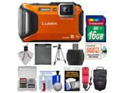Panasonic Lumix DMC-FT5 Tough Shock & Waterproof Wi-Fi GPS Digital Camera (Orange) with 16GB Card + Case + Battery + Tripod + Float Strap + Kit