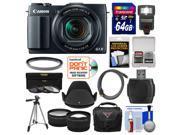 Canon PowerShot G1 X Mark II Wi-Fi Digital Camera with 64GB Card + Case + Flash + Tripod + Filters + Tele/Wide Lens Kit