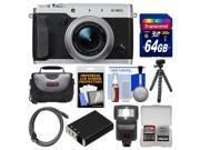 Fujifilm X30 Wi-Fi Digital Camera (Silver) with 64GB Card + Case + Flash + Battery + Flex Tripod + Kit