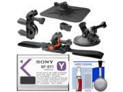 Essentials Bundle for Sony Action Cam HDR-AZ1 Camcorder with Sony NP-BY1 Battery + Handlebar Bike, Vented Helmet & Car Mounts + Kit