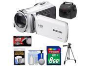 Samsung HMX-F90 HD Digital Video Camcorder (White) with 8GB Card + Case + Tripod + Accessory Kit