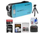 Bell & Howell Slice2 DV7HD 1080p HD Slim Video Camera Camcorder (Blue) with 16GB Card + Case + Flex Tripod + Kit