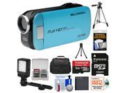 Bell & Howell Slice2 DV7HD 1080p HD Slim Video Camera Camcorder (Blue) with 16GB Card + Battery + Case + Tripods + LED Light + Kit