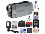 Bell & Howell Slice2 DV7HD 1080p HD Slim Video Camera Camcorder (Gray) with 16GB Card + Battery + Case + Tripods + LED Light + Kit
