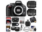 Nikon D5200 Digital SLR Camera with 18-55mm, 55-200mm Lenses, WU-1a, Bag & Card (Black) + Tripod + Filters + Remote + Tele/Wide Lens Kit
