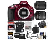 Nikon D5200 Digital SLR Camera with 18-55mm, 55-200mm Lenses, WU-1a, Bag & Card (Red) + Tripod + Filters + Remote + Tele/Wide Lens Kit
