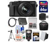 Panasonic Lumix DMC-LX100 4K Wi-Fi Digital Camera with 64GB Card + Case + Flash & Soft Box + Battery + Tripod + Kit