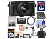 Panasonic Lumix DMC-LX100 4K Wi-Fi Digital Camera with 64GB Card + Case + Video Light & Flash Set + Battery + Tripod + Kit