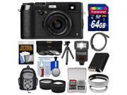 Fujifilm X100T Digital Camera (Black) with 64GB Card + Backpack + Flash + Battery + Tripod + Tele/Wide Lenses Kit
