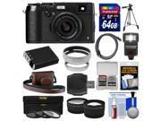 Fujifilm X100T Digital Camera (Black) with 64GB Card + Case + Flash + Battery + Tripod + Tele/Wide Lenses Kit