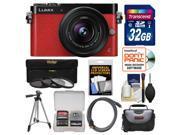 Panasonic Lumix DMC-GM5 Micro Four Thirds Wi-Fi Digital Camera & 12-32mm Lens (Red) with 32GB Card + Case + Tripod + 3 Filters Kit