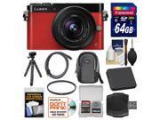 Panasonic Lumix DMC-GM5 Micro Four Thirds Wi-Fi Digital Camera & 12-32mm Lens (Red) with 64GB Card + Case + Battery + Tripod + Filter + Kit