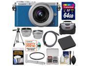 Panasonic Lumix DMC-GM1 Micro Four Thirds Digital Camera & 12-32mm Lens (Blue) with 64GB Card + Hand Grip + Case + Battery + Tripod + Tele/Wide Lenses Kit